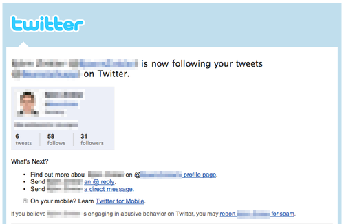 The body of Twitter's new follower notification email.