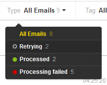 Filter your inbound messages by processing status.