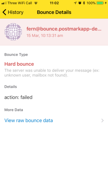 Bounce details in Postmark for iOS