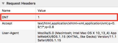 DNT HTTP header in Safari dev tools