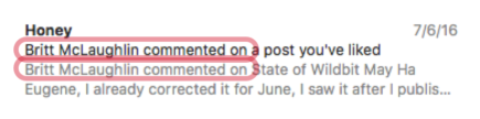 A screenshot of a  notification where the subject and first parts of the body are redundant.