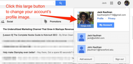 Update a profile image in Gmail