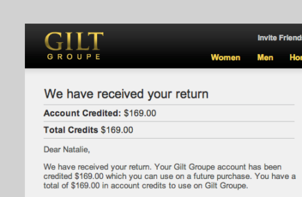 Notification that Gilt had received my return