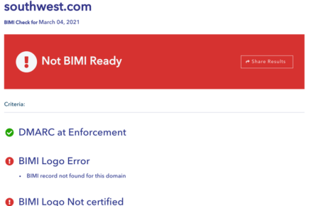 A screenshot of an email from Southwest failing a BIMI lookup