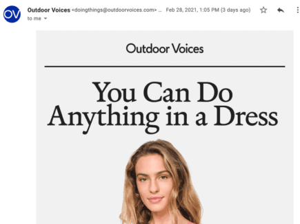 A screenshot of an email from Outdoor Voices without the BIMI logo