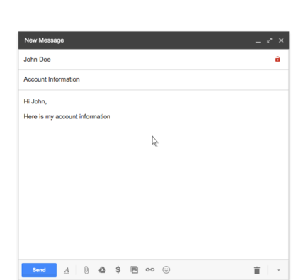 Lock in Gmail showing messages weren't encrypted with TLS