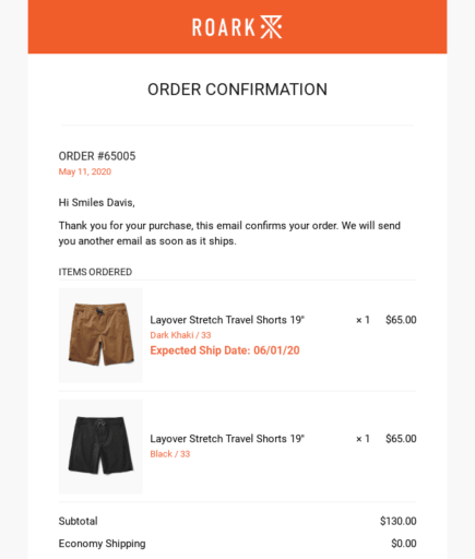 Image or Roark's order confirmation email.