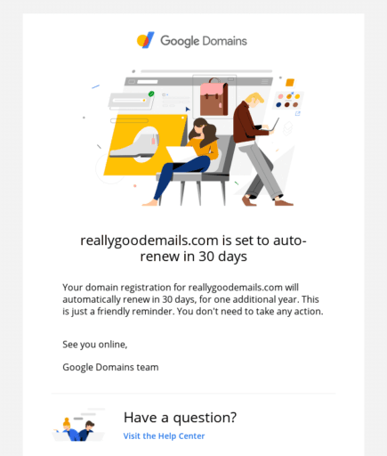 Image of Google Domain's account payment reminder email.