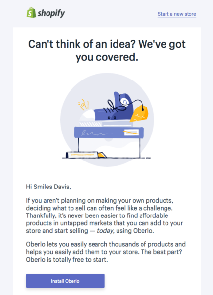 Image of Shopify's cross-sell email encouraging customers to try another offering.