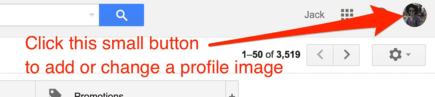Change a profile image in Gmail