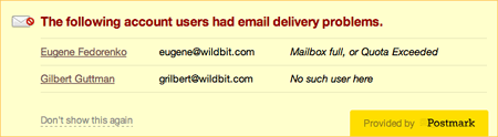 See which accounts are having delivery problems.