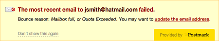 Show why an email failed to a specific email address.