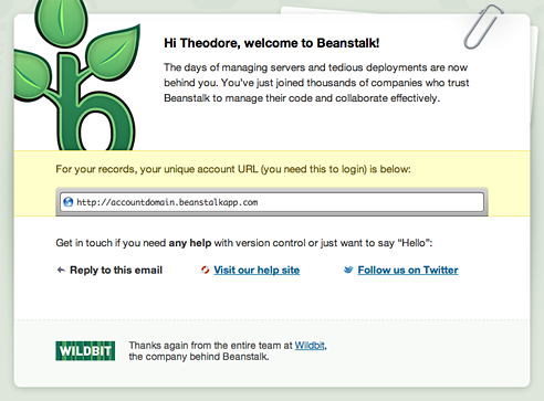The welcome email for paid Beanstalk accounts sends the customer a quick reference to get started.