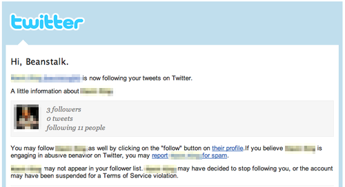 The body of Twitter's old new follower email
