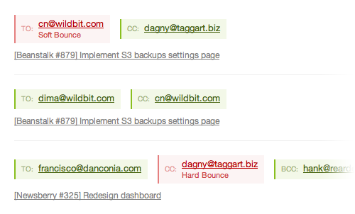 Updated email activity view. Now you can track multiple recipients from the dashboard!