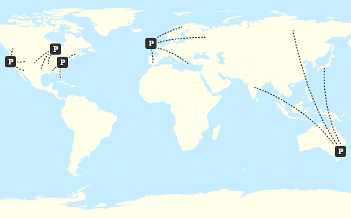 Postmark SMTP servers around the world.