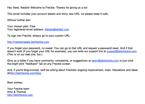 Freckle's welcome email before the redesign