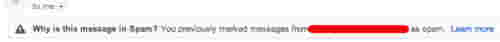 Gmail will also mark messages as spam from senders you've marked as spam in the past.