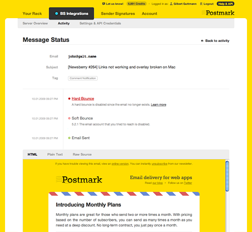 You can also view the content of an individual email, and toggle between HTML, Text, and Raw message content.