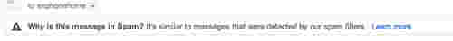 Gmail also marks when a message was marked as spam because it matches other messages it has filtered.