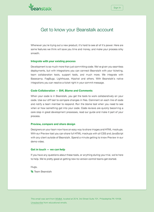 The Beanstalk welcome email before we updated to a modern email design.