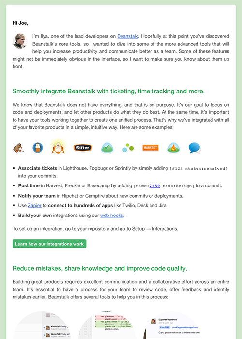 The next step in our update was to make the Beanstalk welcome email responsive. This was the version we created for larger screens.
