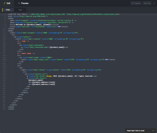 Screenshot of the markup editor for a template.