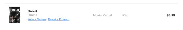 A screenshot of an iTunes receipt line item with links to related actions.