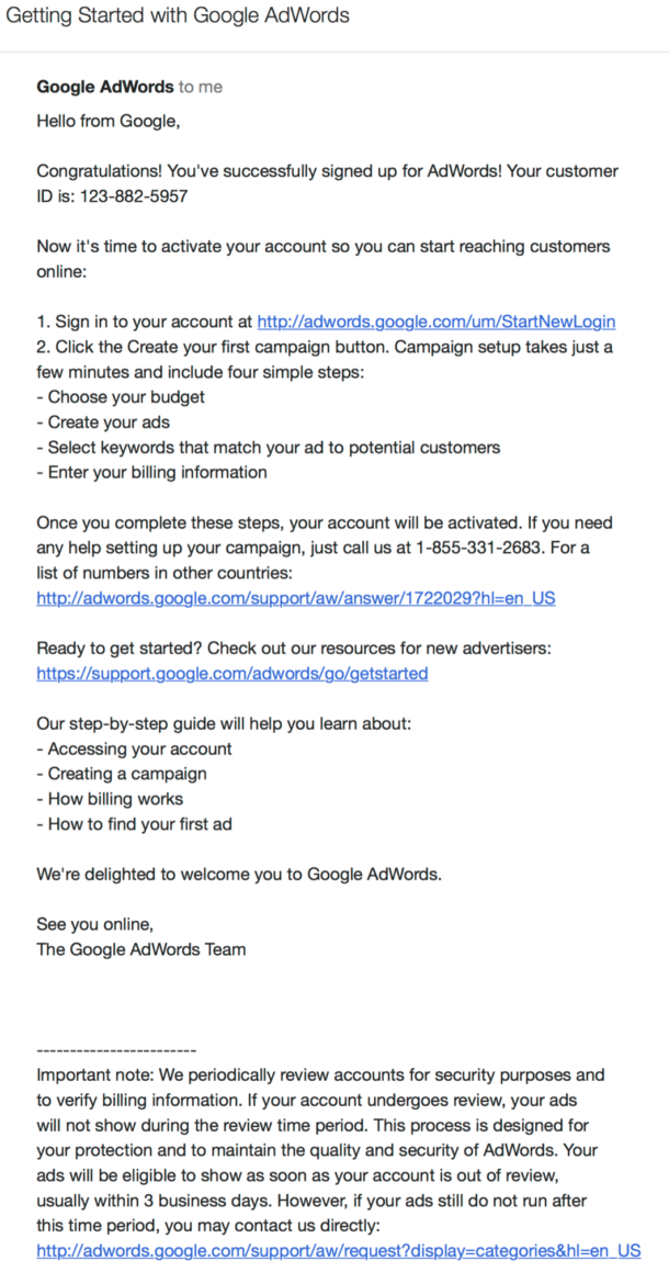 Screenshot of an AdWords welcome email