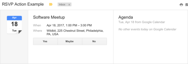 A screenshot of an enhanced RSVP action in the message detail view in Gmail.