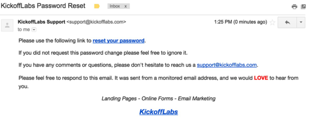 A screenshot of the KickoffLabs password reset email