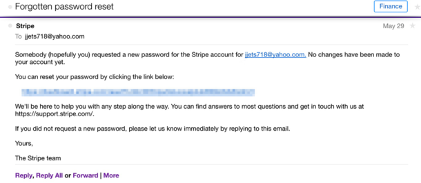 A screenshot of the Stripe password reset email