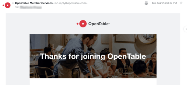 A screenshot of an email from OpenTable.