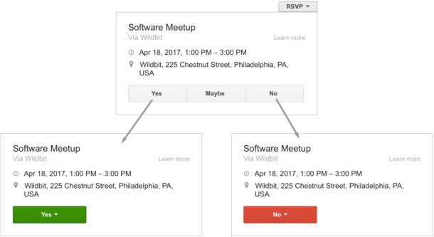 A screenshot of an RSVP action dropdown and the Yes/Maybe/No options.