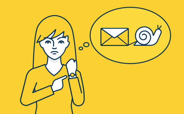 Illustration of a woman pointing at her watch and imagining an email being pulled by a snail.