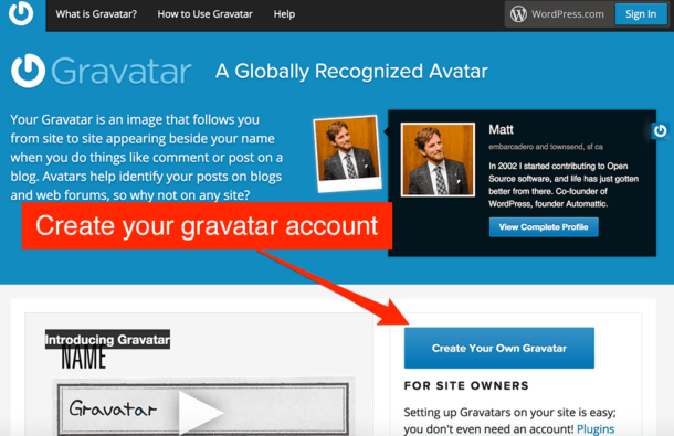 Add an image on Gravatar