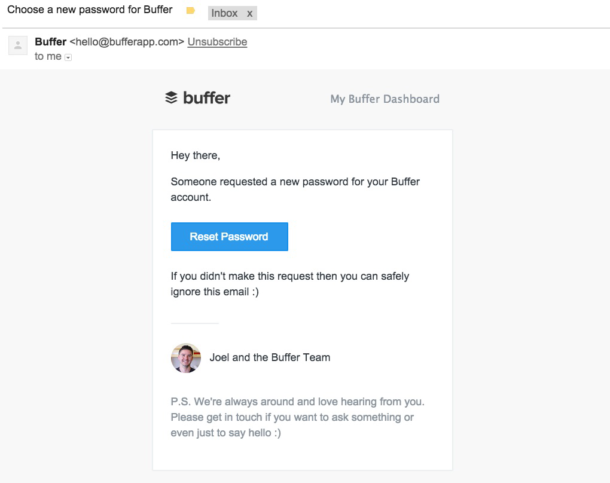 A screenshot of the Buffer password reset email.