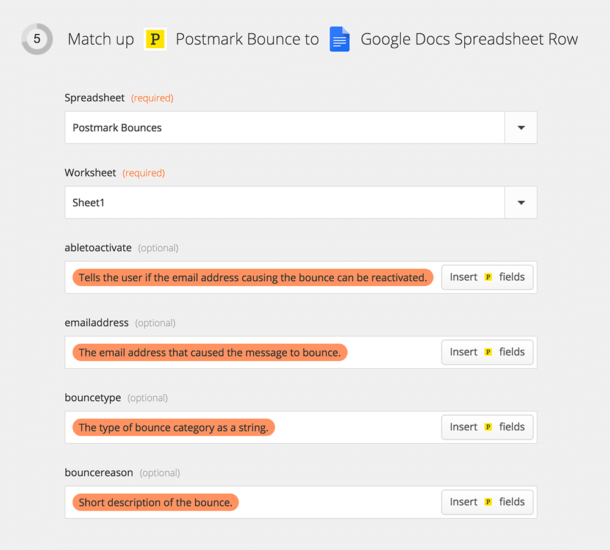 A screenshot of connecting Postmark to Google Docs Spreadsheet.