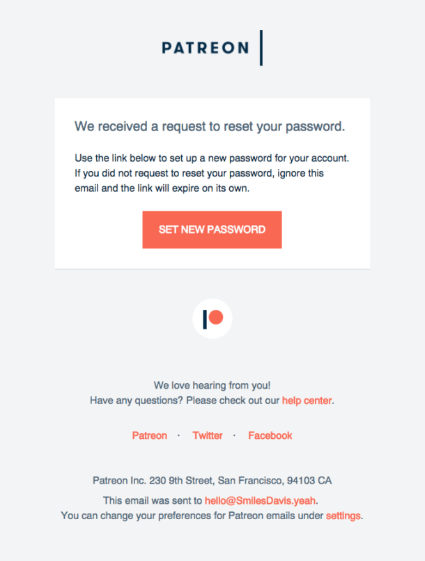 A screenshot of Patreon's password reset email.