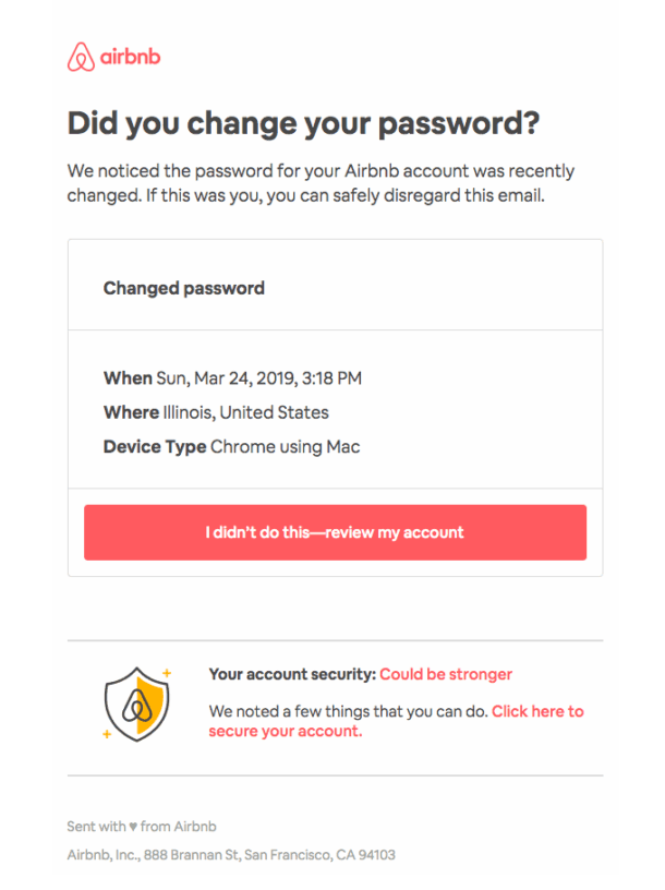 A screenshot of a password reset email from Airbnb
