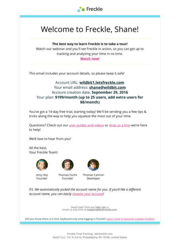 Screenshot of the Freckle welcome email