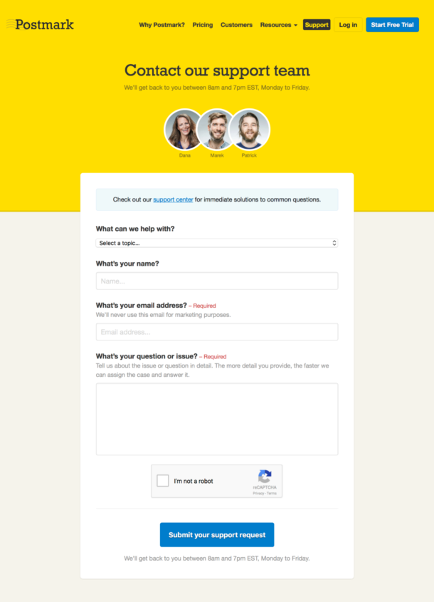 A screenshot of our slightly updated contact form.