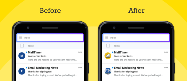 Screenshots of how an email looks Before and After using BIMI