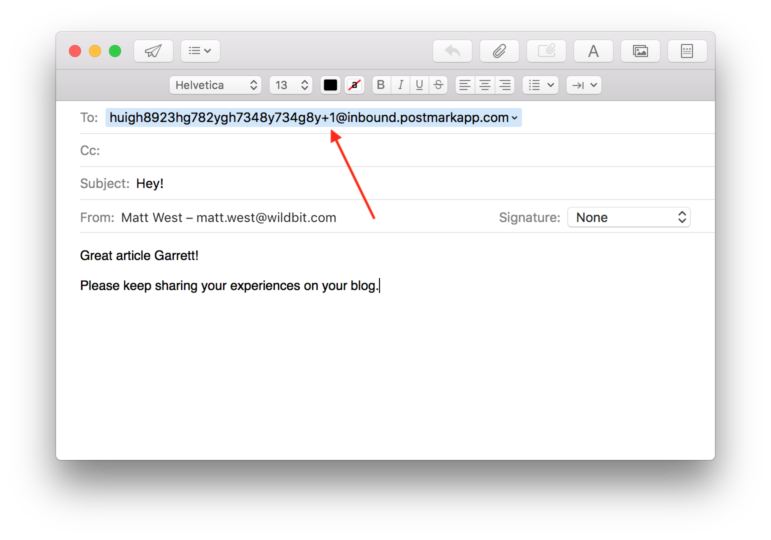 Image of a test email example