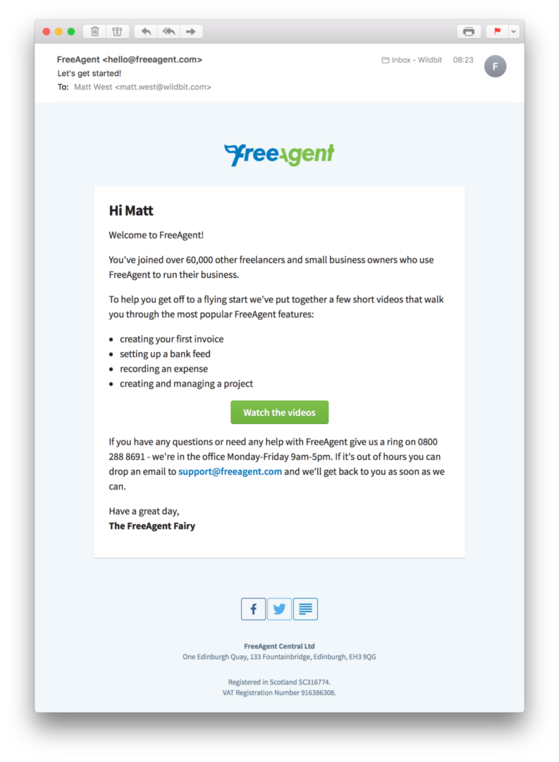 FreeAgent Welcome Email