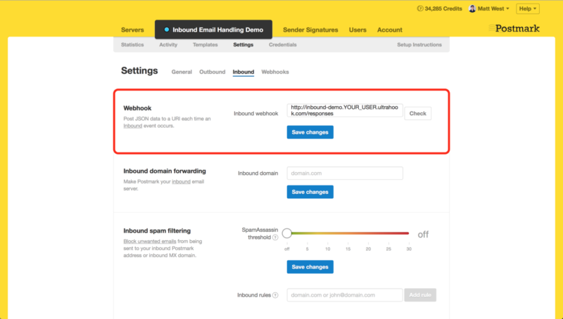 Setting up Ultrahook as a Webhook in Postmark example
