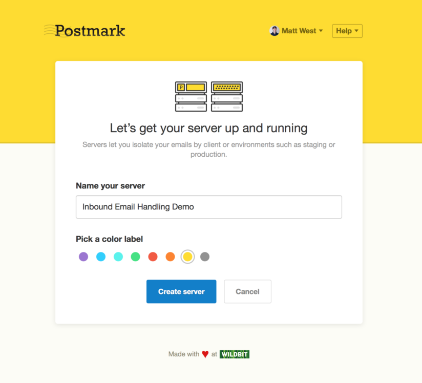 Image of new server creation screen in Postmark