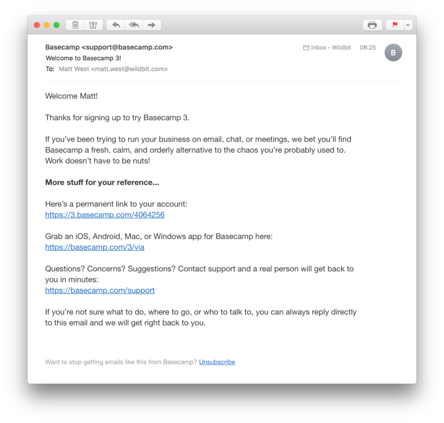 Basecamp 3 Welcome Email