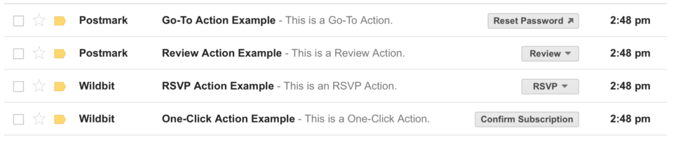 A screenshot of several examples of emails with different Gmail Inbox Action buttons.