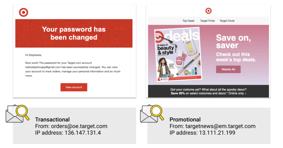 One promo email and one transactional email from Target highlight these best practices put to good use.